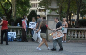 Hugs for free in piazza