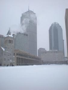 Grattacieli nella neve