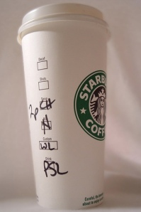 Una tazza scritta di Starbucks