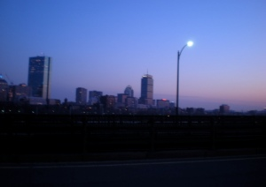 Boston al tramonto, dal Longfellow Bridge